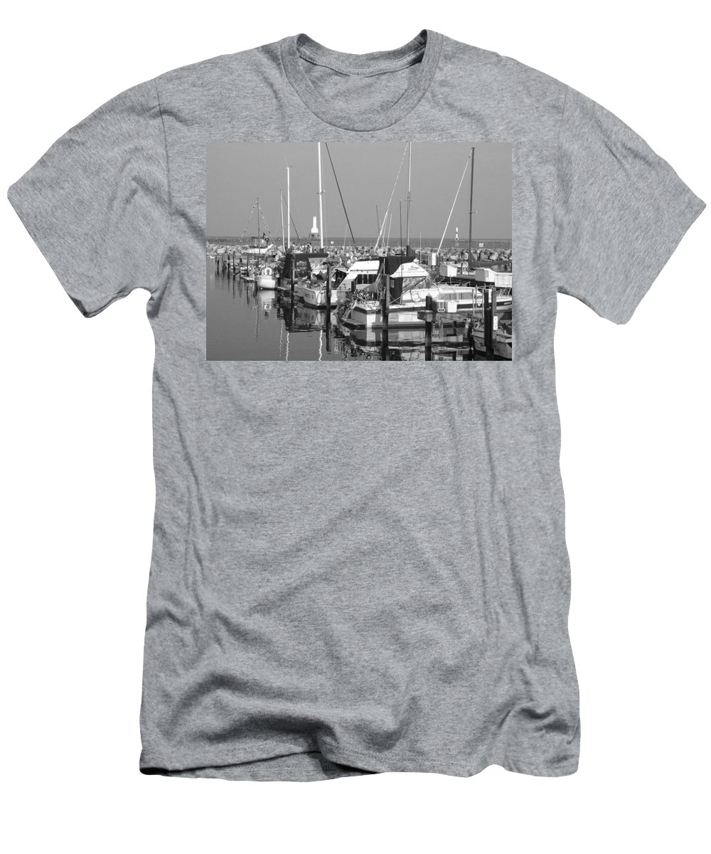 Sailboats Men's T-Shirt (Athletic Fit) featuring the photograph Boats And Reflections B-w by Anita Burgermeister