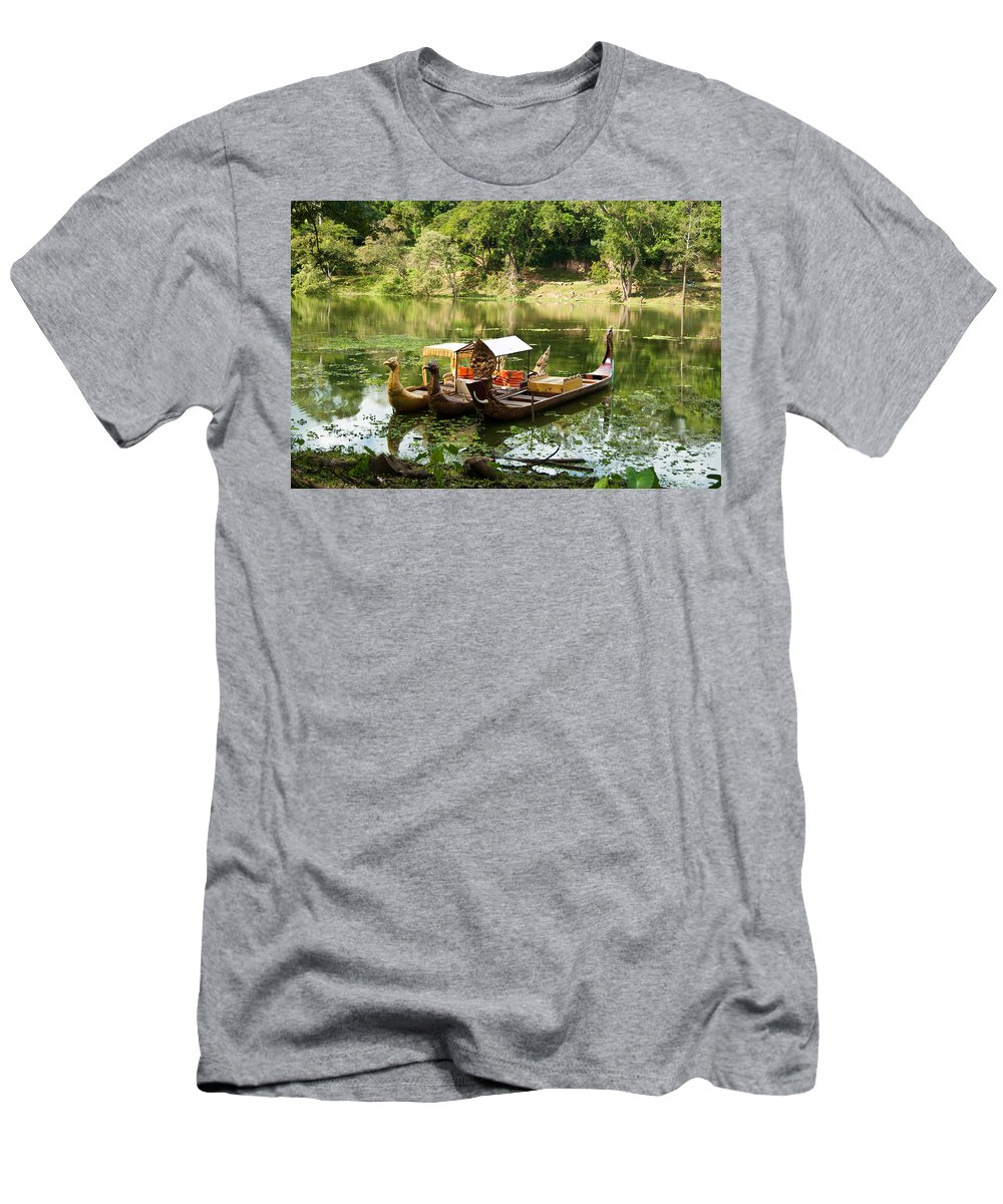 Men's T-Shirt (Athletic Fit) featuring the photograph Boats In Lake Ankor Thom by James Gay
