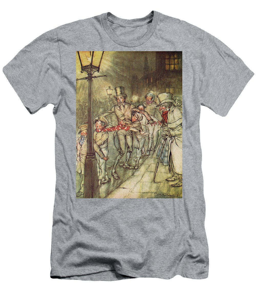 Bob Cratchit Men's T-Shirt (Athletic Fit) featuring the drawing Bob Cratchit Went Down A Slide On Cornhill by Arthur Rackham