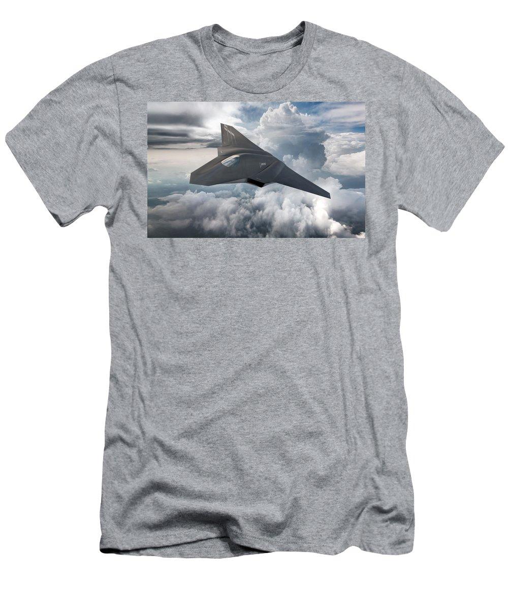 Boeing Next Gen Fighter Concept Men's T-Shirt (Athletic Fit) featuring the digital art Boeing Next Gen Fighter Concept by Mery Moon