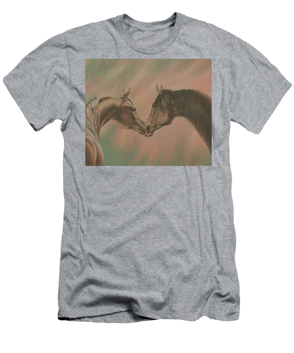 Horse Men's T-Shirt (Athletic Fit) featuring the drawing Bonding by Yelena Shabrova