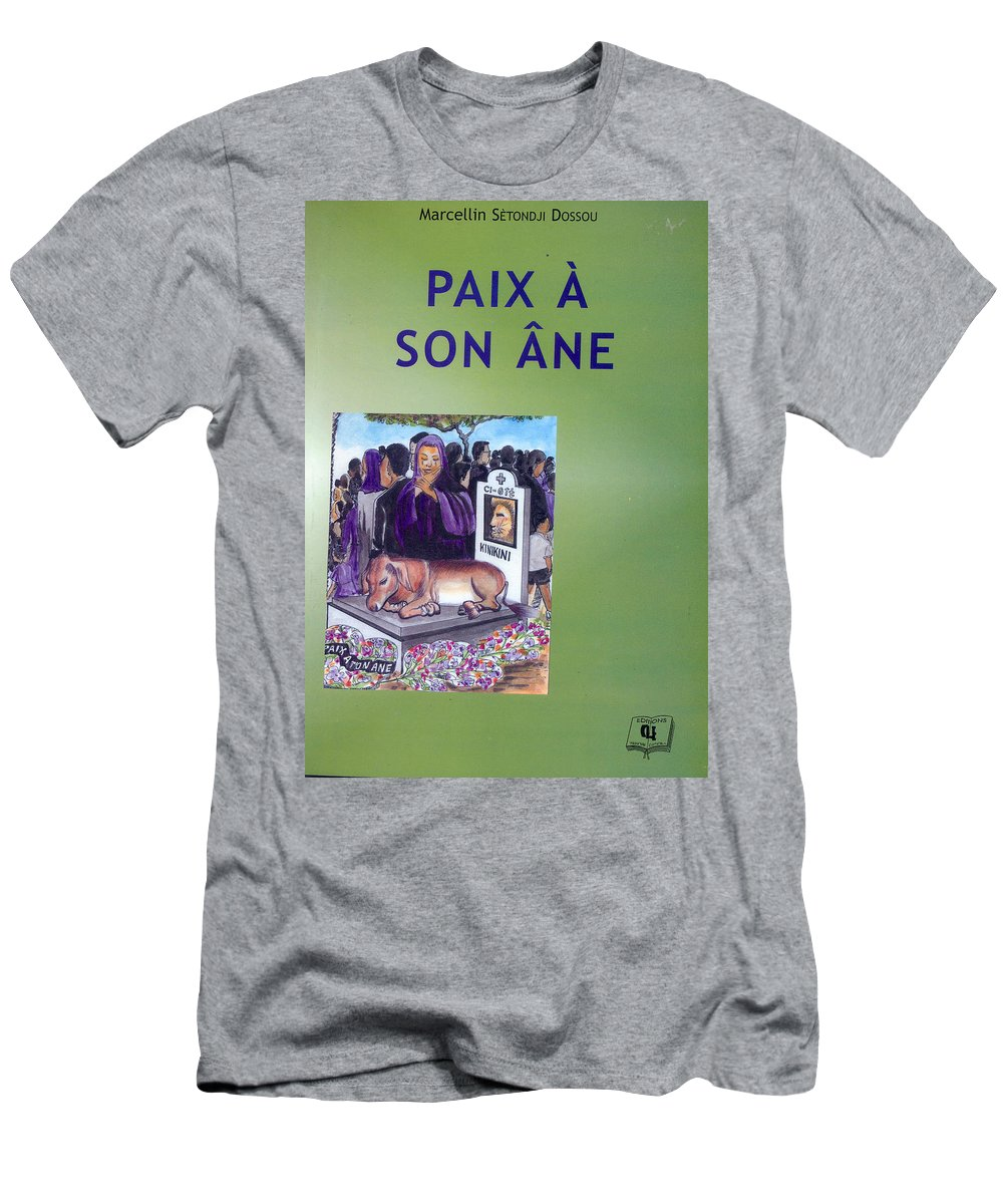 Men's T-Shirt (Athletic Fit) featuring the painting Book Cover Paix A Son Ane by Emmanuel Baliyanga