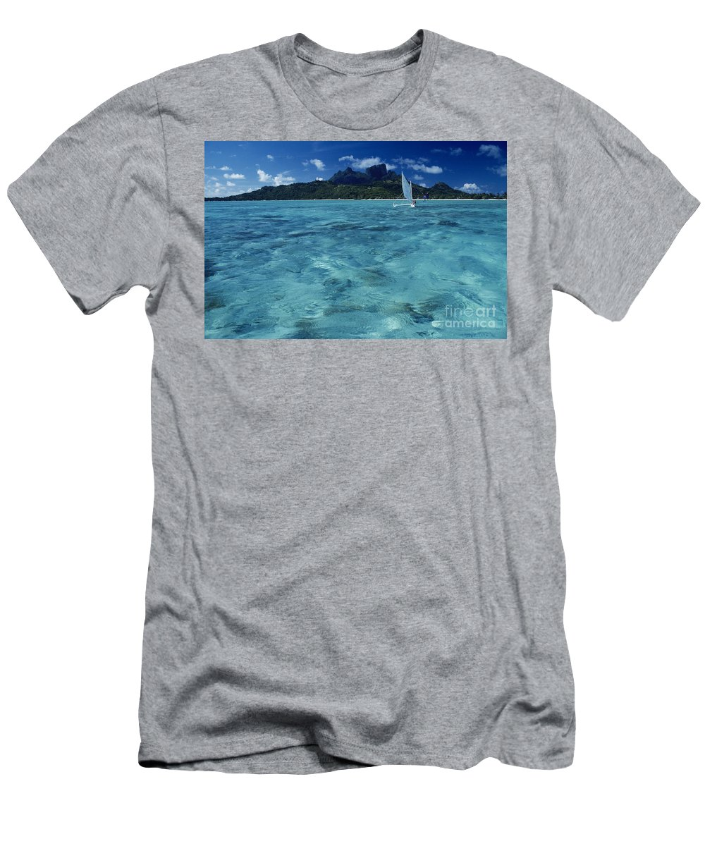 Aku Men's T-Shirt (Athletic Fit) featuring the photograph Bora Bora, Local People by Larry Dale Gordon - Printscapes