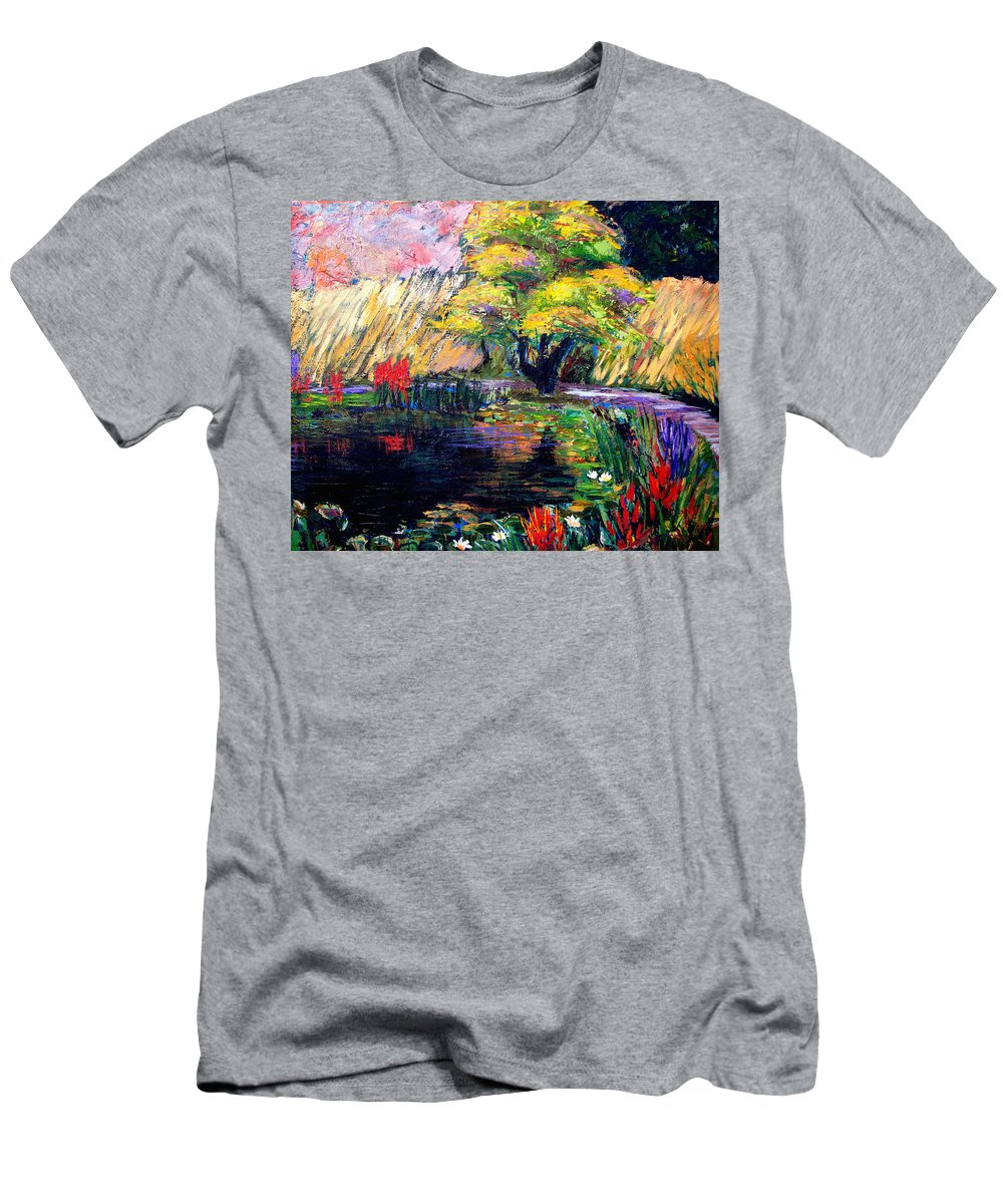 Art Nomad Men's T-Shirt (Athletic Fit) featuring the painting Botanical Garden In Lund Sweden by Art Nomad Sandra Hansen