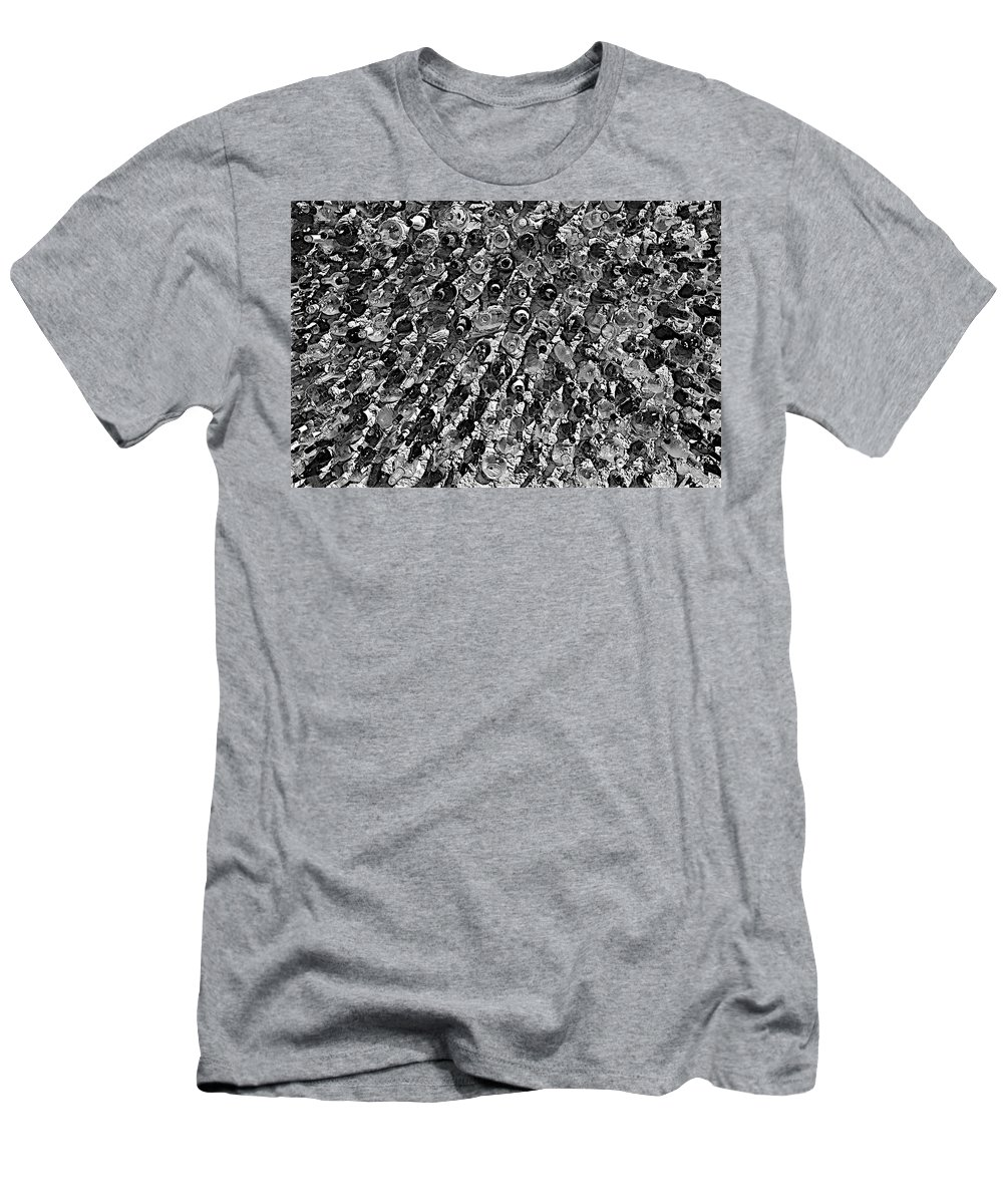 Black And White Men's T-Shirt (Athletic Fit) featuring the photograph Bottle Wall Black And White by FlyingFish Foto