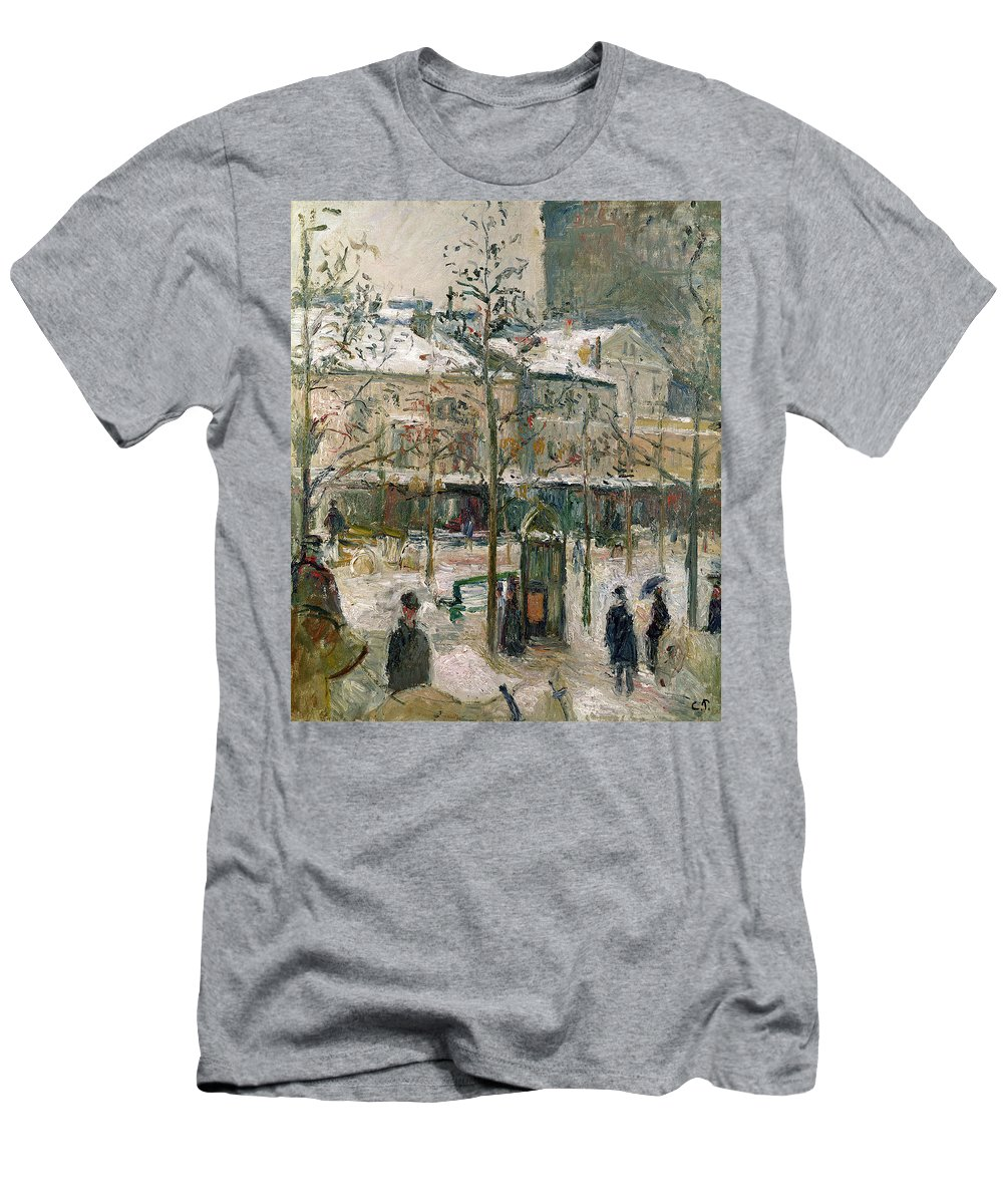 Boulevard Men's T-Shirt (Athletic Fit) featuring the painting Boulevard De Rocheouart In Snow by Camille Pissarro