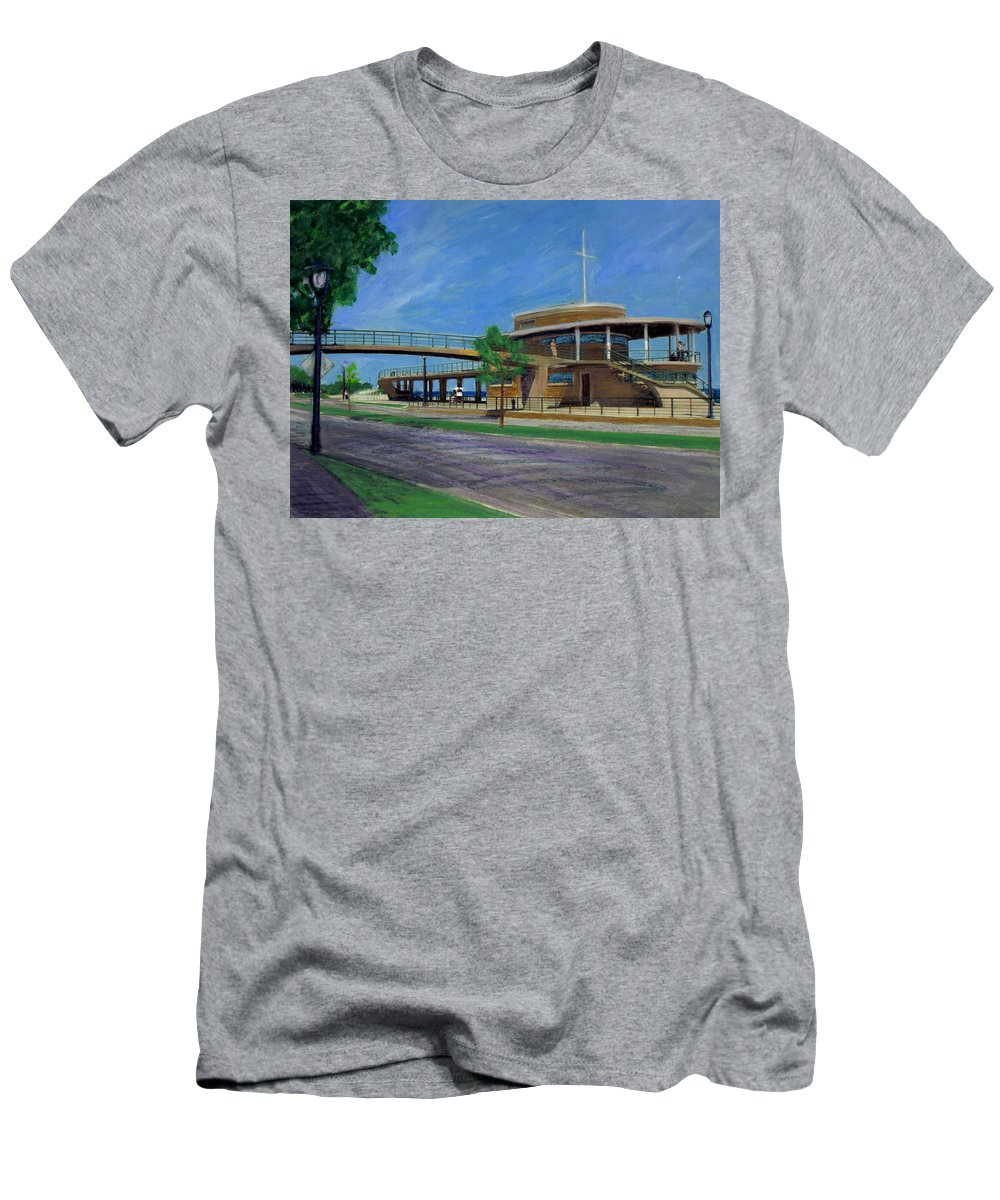 Miexed Media Men's T-Shirt (Athletic Fit) featuring the mixed media Bradford Beach House by Anita Burgermeister