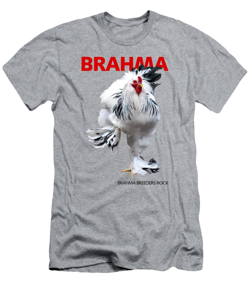 Brahma Men's T-Shirt (Athletic Fit) featuring the digital art Brahma Breeders Rock Red by Sigrid Van Dort