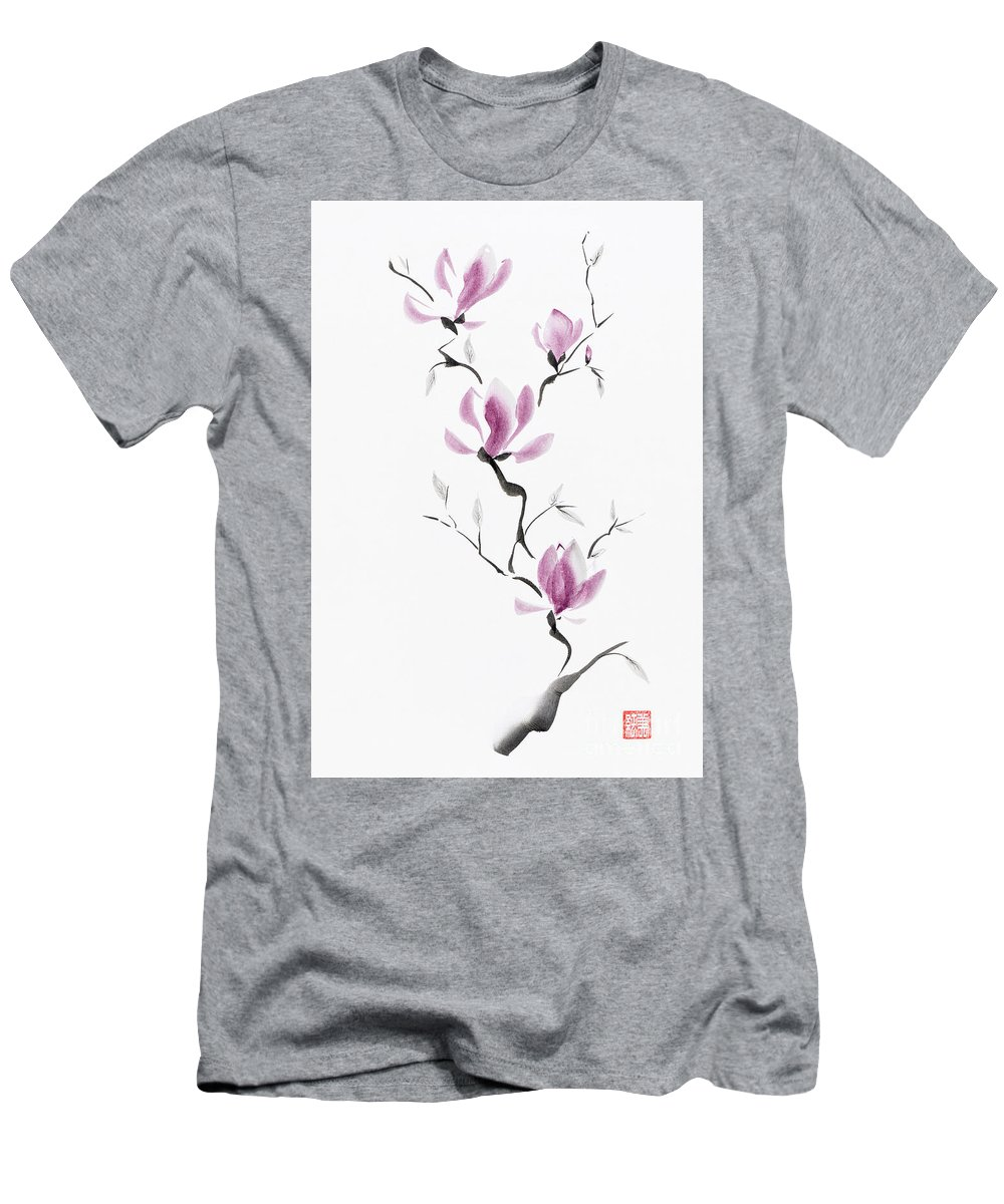 Flower Men's T-Shirt (Athletic Fit) featuring the mixed media Branch Of Blooming Purple Magnolia Flowers Japanese Zen Sumi-e P by Awen Fine Art Prints