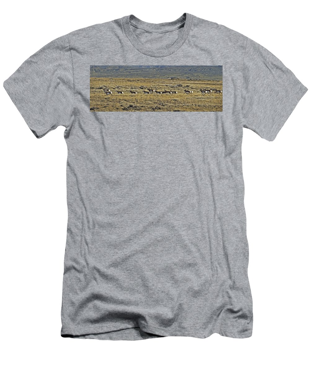 Antelope Men's T-Shirt (Athletic Fit) featuring the photograph Breaking For The Flats by Richard Rivard