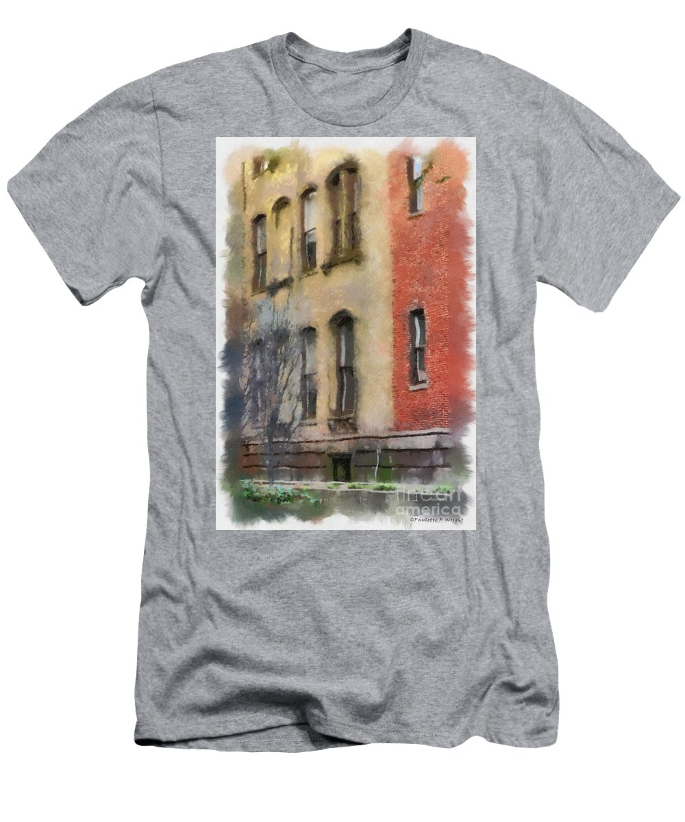 Richmond Men's T-Shirt (Athletic Fit) featuring the photograph Brick Alley by Paulette B Wright