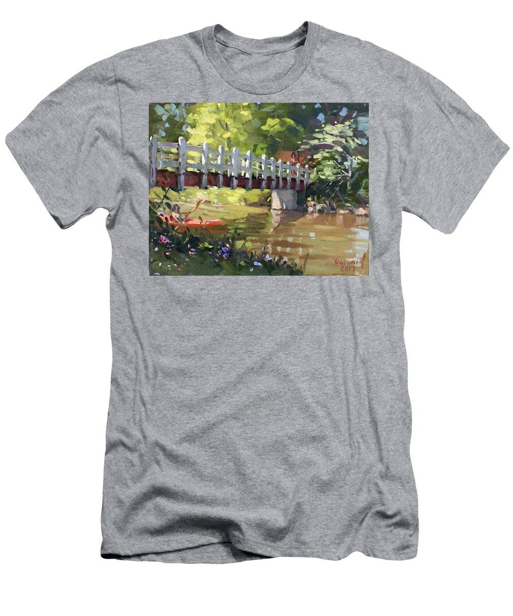Bridge Men's T-Shirt (Athletic Fit) featuring the painting Bridge At Ellicott Creek Park by Ylli Haruni