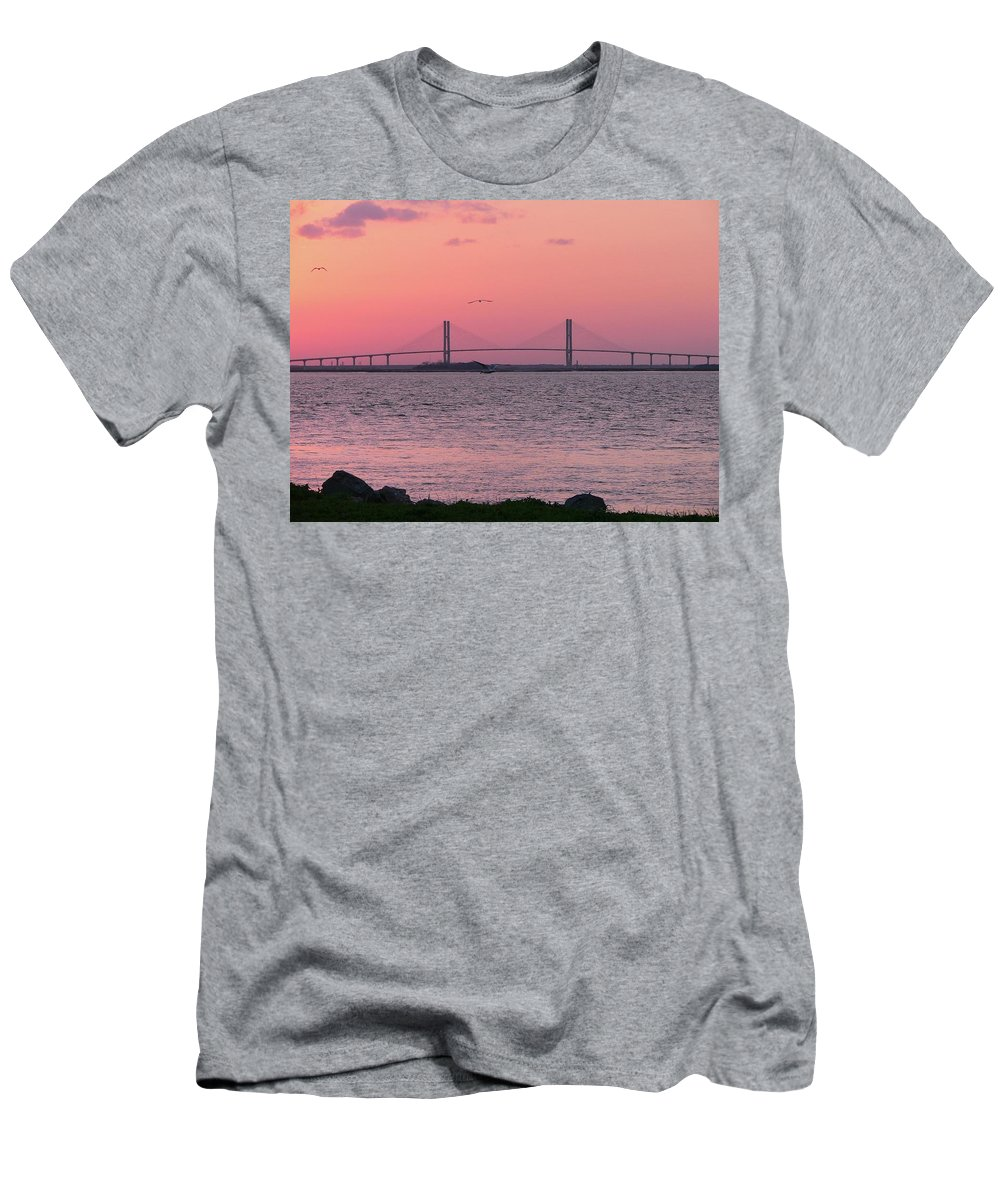 Lanier Men's T-Shirt (Athletic Fit) featuring the photograph Bridge Sunset by Al Powell Photography USA