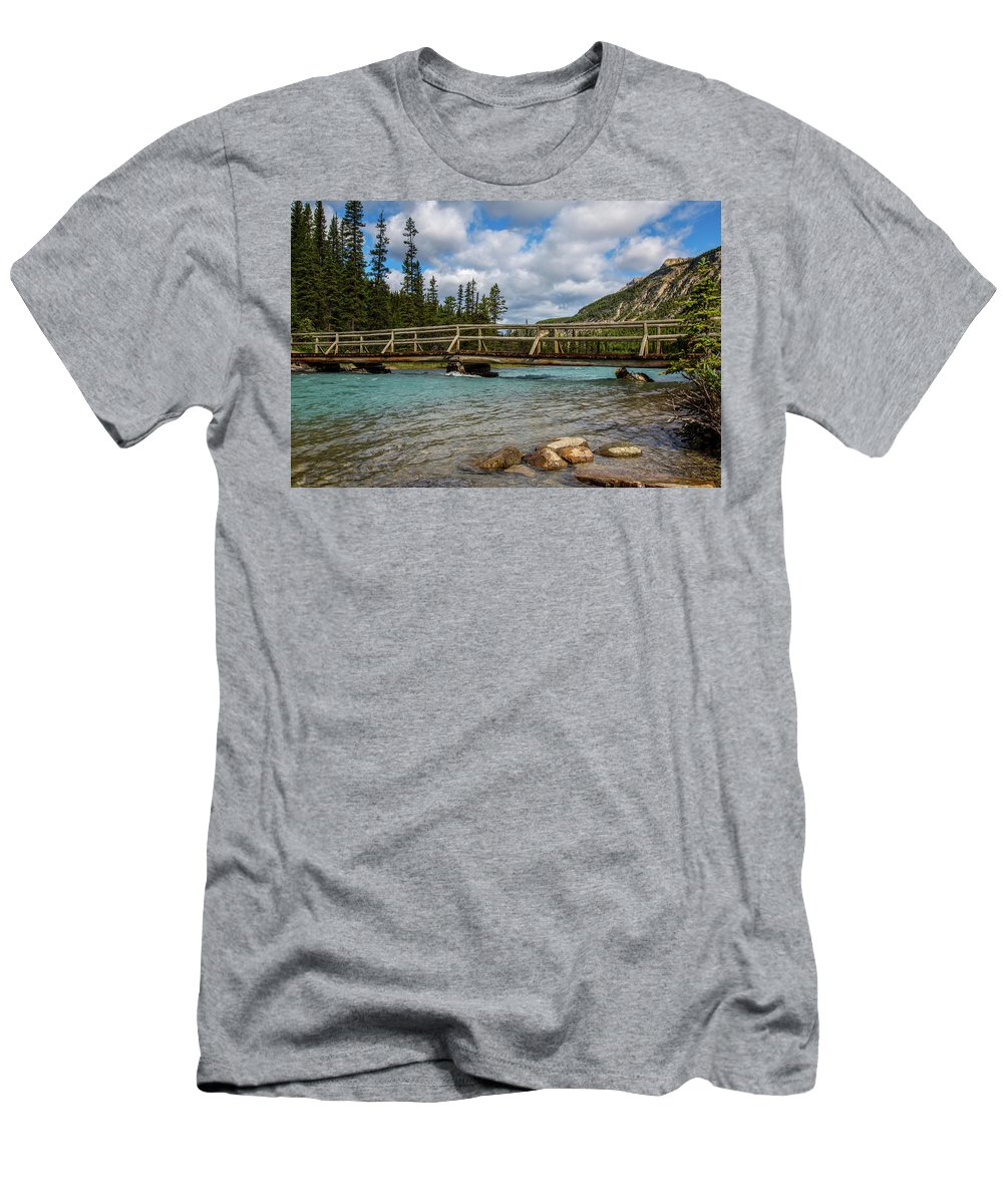 Bridge Men's T-Shirt (Athletic Fit) featuring the photograph Bridge To The Other Side by Kathy Whitehurst