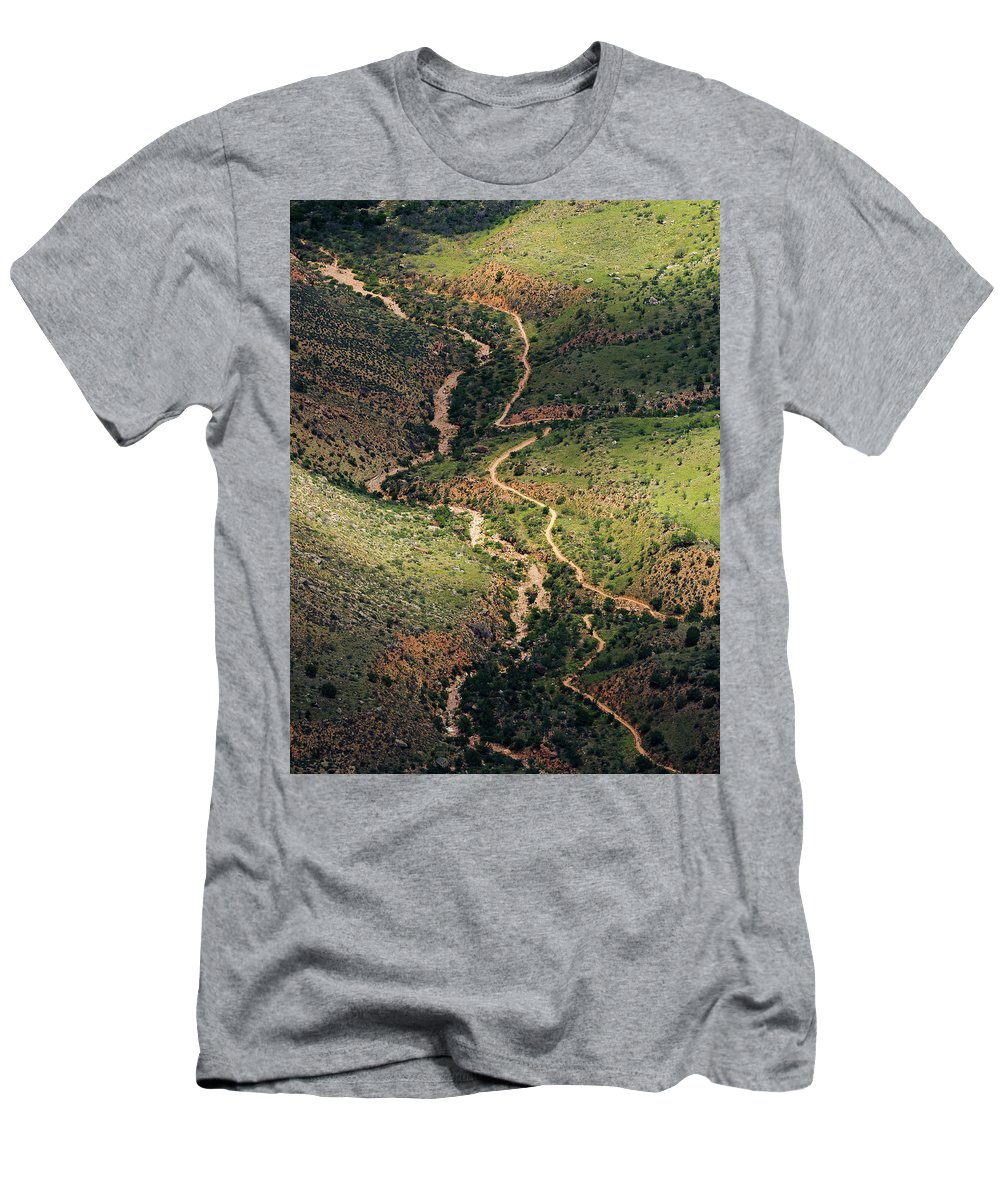 Bright Angel Trail Men's T-Shirt (Athletic Fit) featuring the photograph Bright Angel Trail Abstract by Jessica Giannone