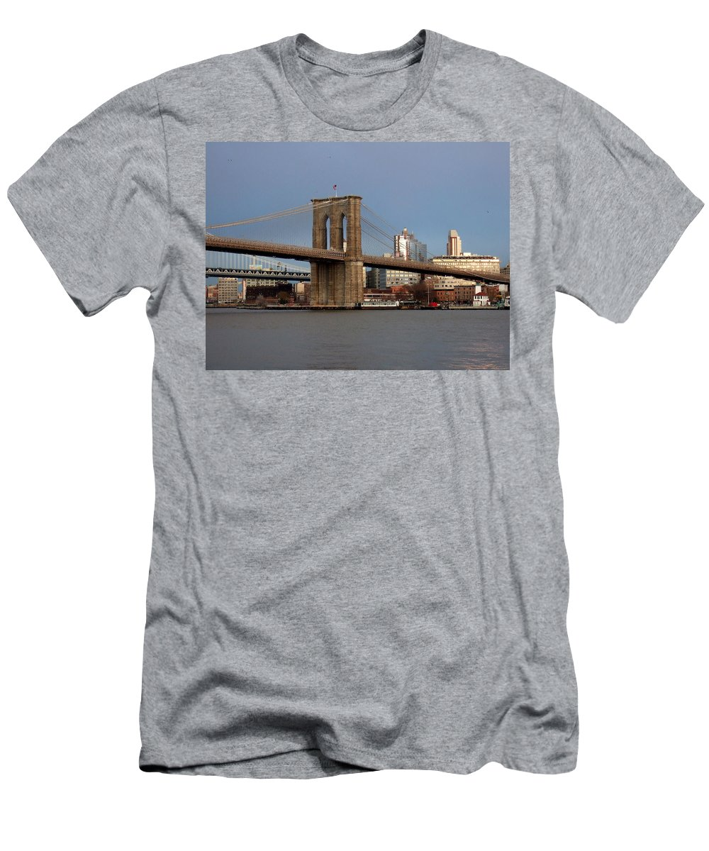 Brooklyn Bridge Men's T-Shirt (Athletic Fit) featuring the photograph Brooklyn Bridge by Anita Burgermeister