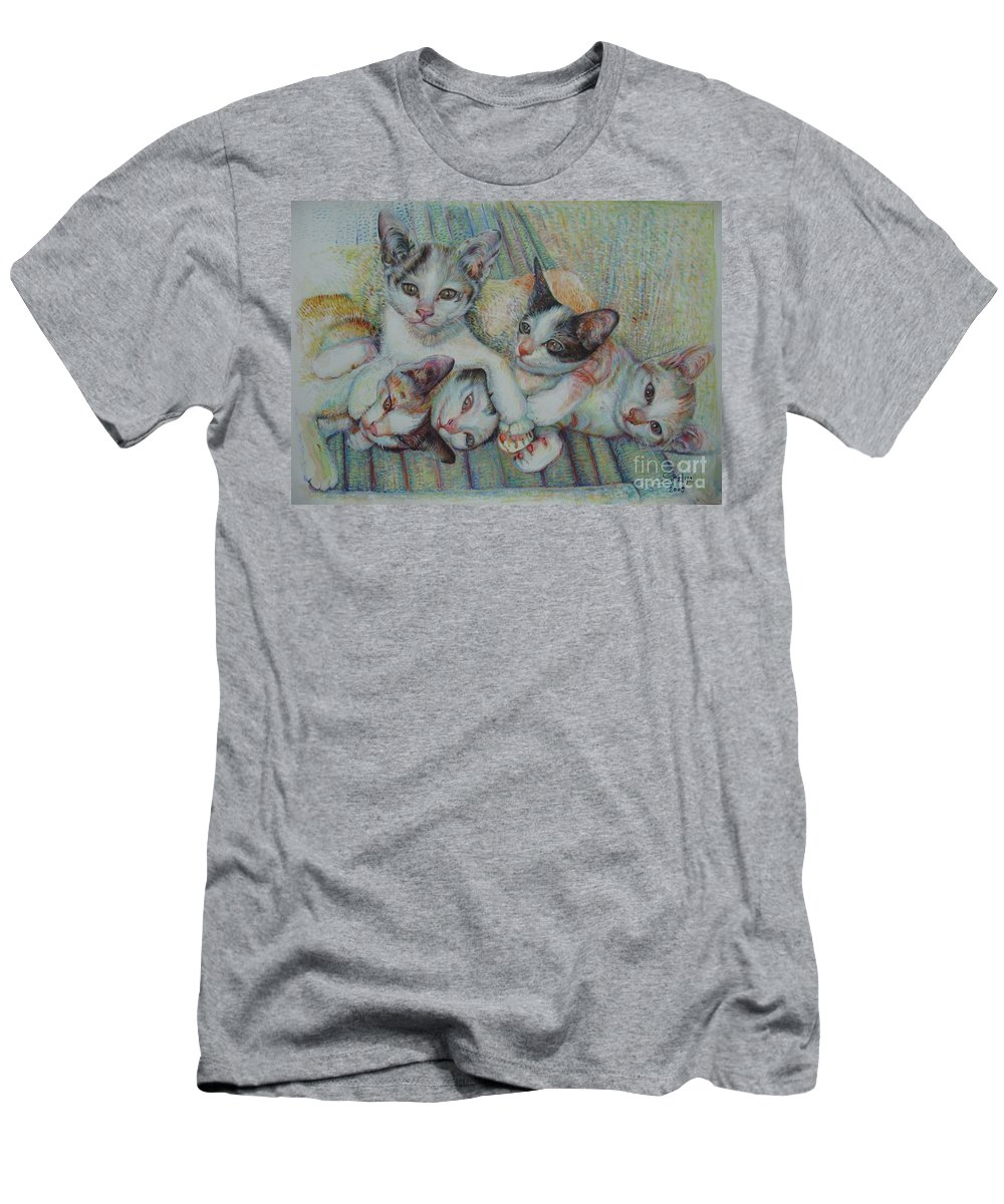 Cats T-Shirt featuring the painting Brothers and Sisters by Sukalya Chearanantana