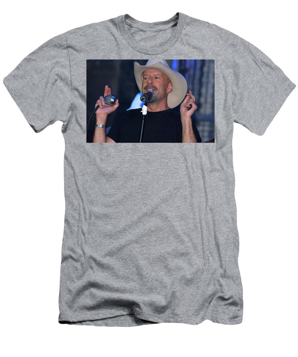 Bruce Willis Men's T-Shirt (Athletic Fit) featuring the digital art Bruce Willis by Lora Battle