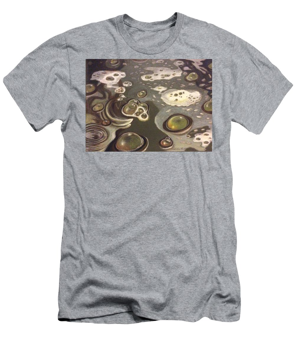Bubbles T-Shirt featuring the painting Bubble Boil and Trouble 1 by Art Nomad Sandra Hansen