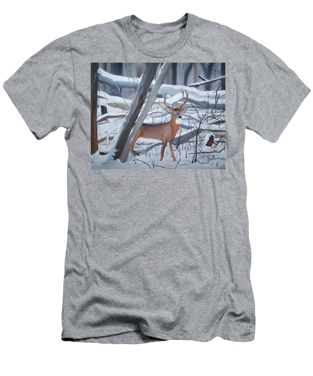 Snow Men's T-Shirt (Athletic Fit) featuring the painting Buck In The Snow by Dolores Brittain