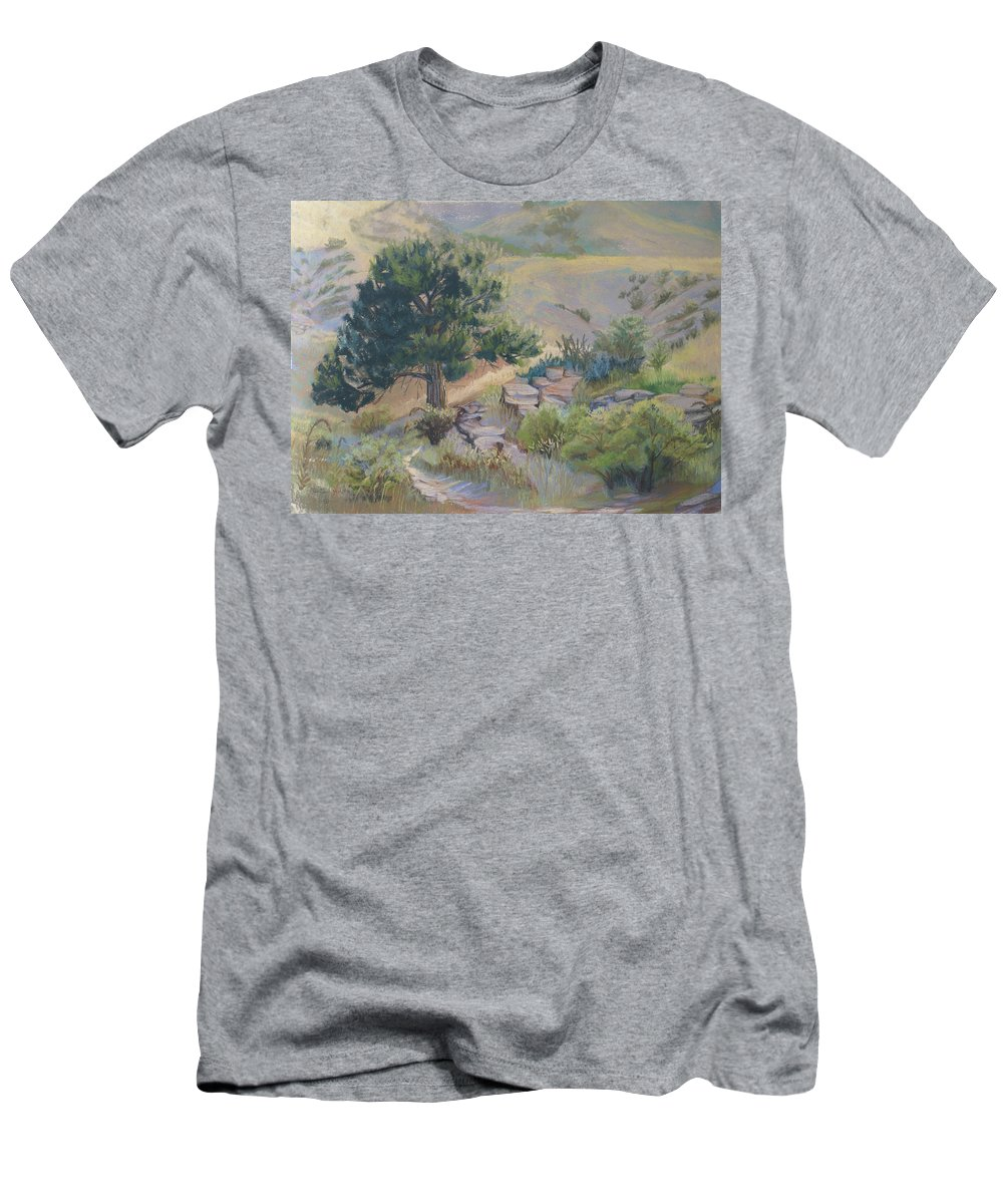 Pine Tree Men's T-Shirt (Athletic Fit) featuring the painting Buckhorn Canyon by Heather Coen