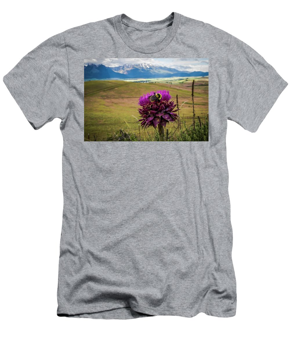Bee Men's T-Shirt (Athletic Fit) featuring the photograph Bumblebee With The Best View by Amy Sorvillo