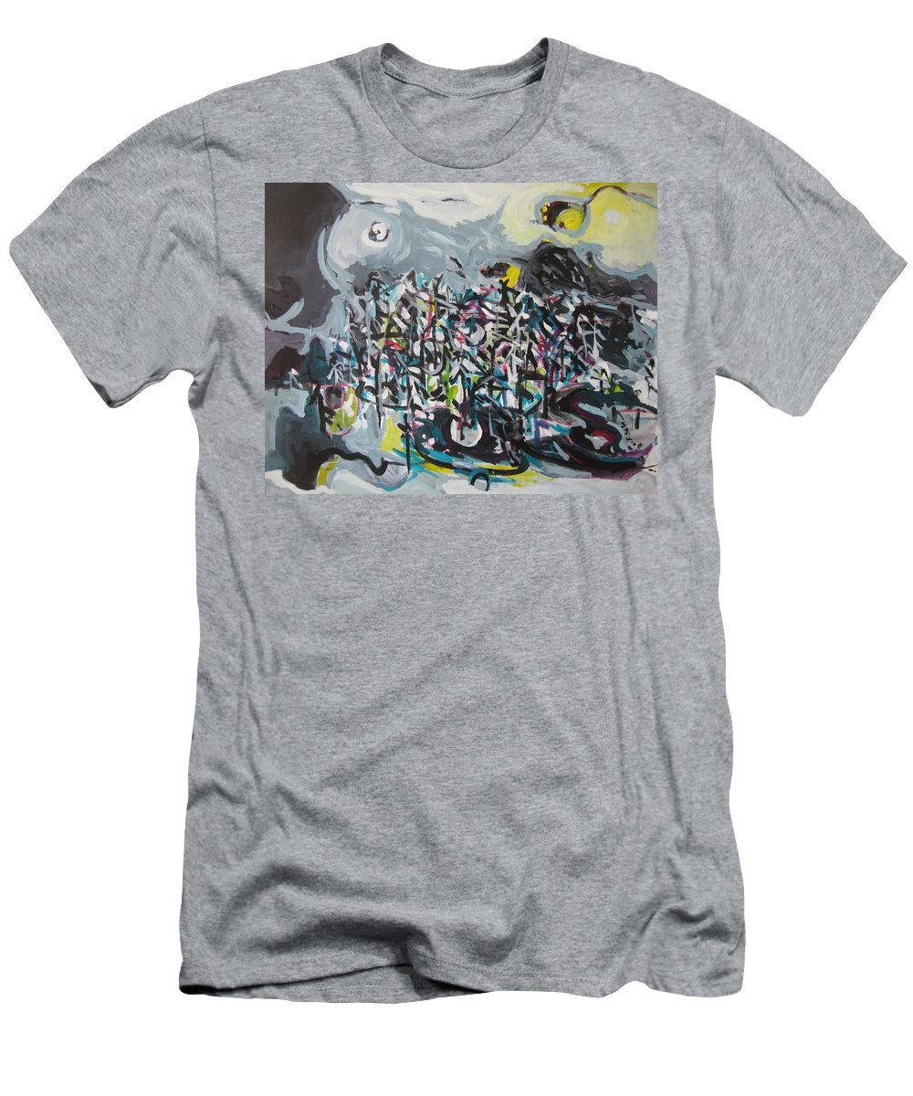 Abstract Paintings Men's T-Shirt (Athletic Fit) featuring the painting Bummer Flat11 by Seon-Jeong Kim