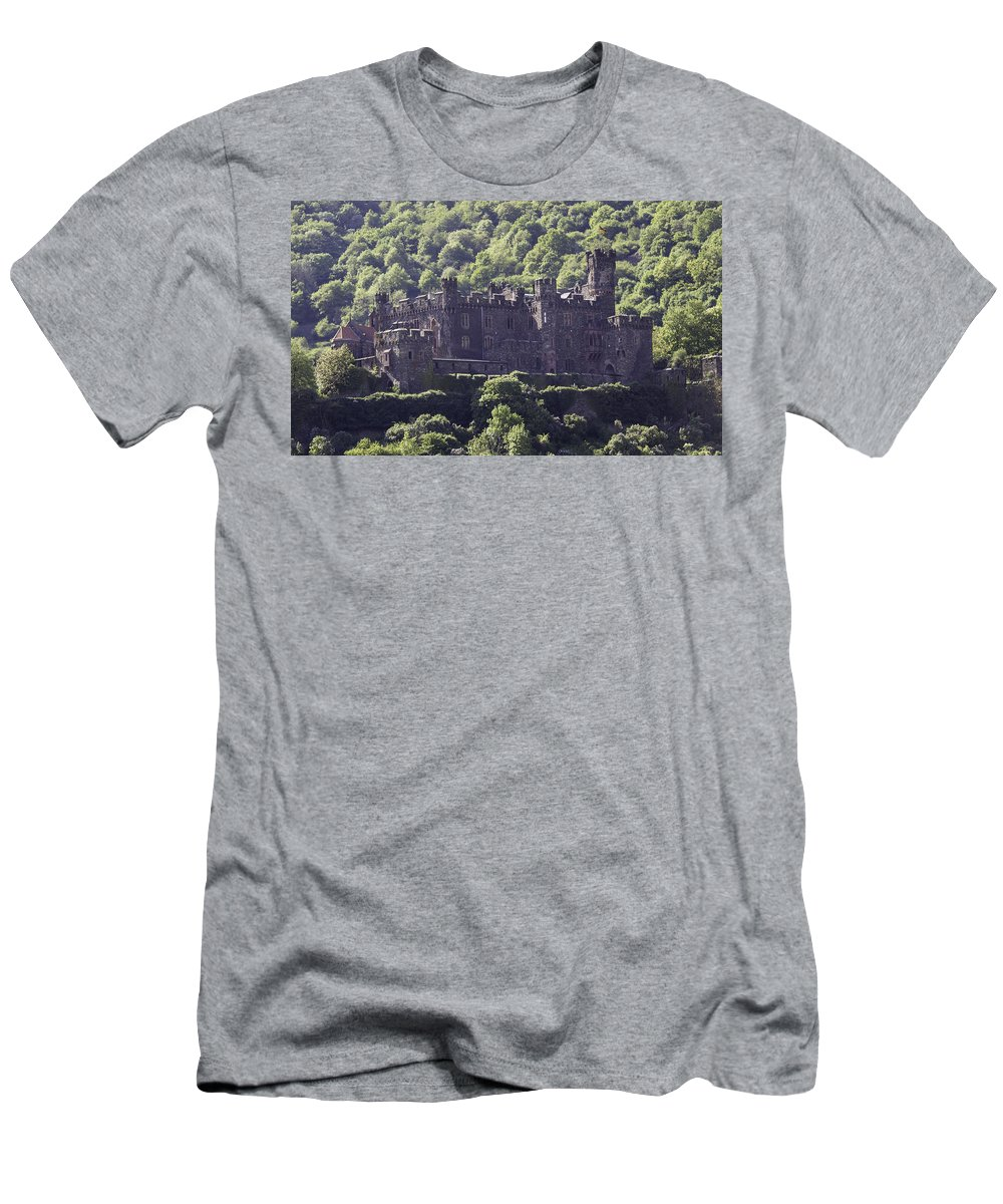 Trechtingshausen Men's T-Shirt (Athletic Fit) featuring the photograph Burg Reichenstein 04 by Teresa Mucha