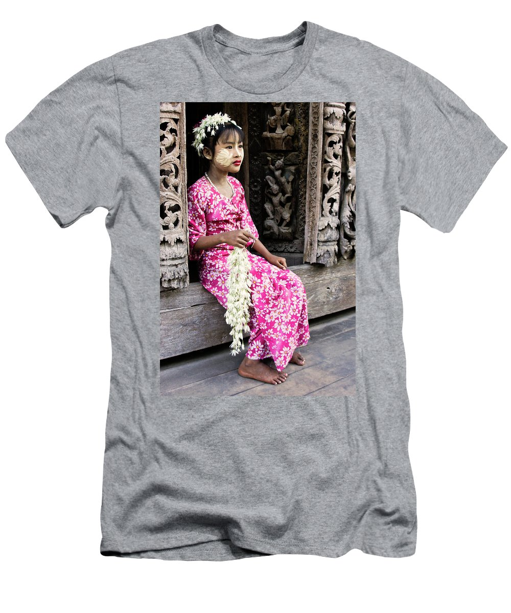075burma's Golden Pagodaasia Men's T-Shirt (Athletic Fit) featuring the photograph Burmese Flower Vendor by Michele Burgess
