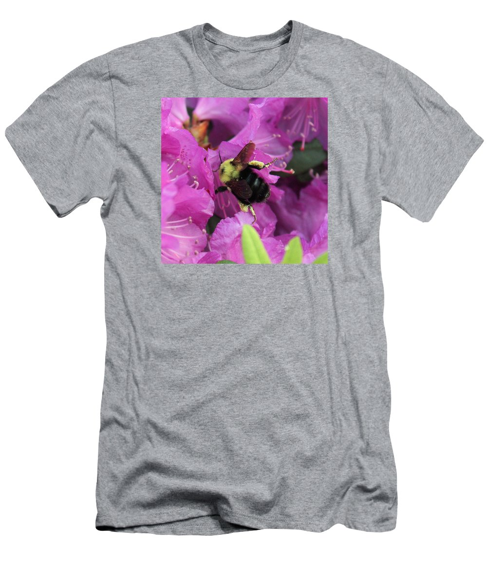 Bumble Bee Men's T-Shirt (Athletic Fit) featuring the photograph Busy Bee Collecting Pollen On Rhododendron by Anita Hiltz