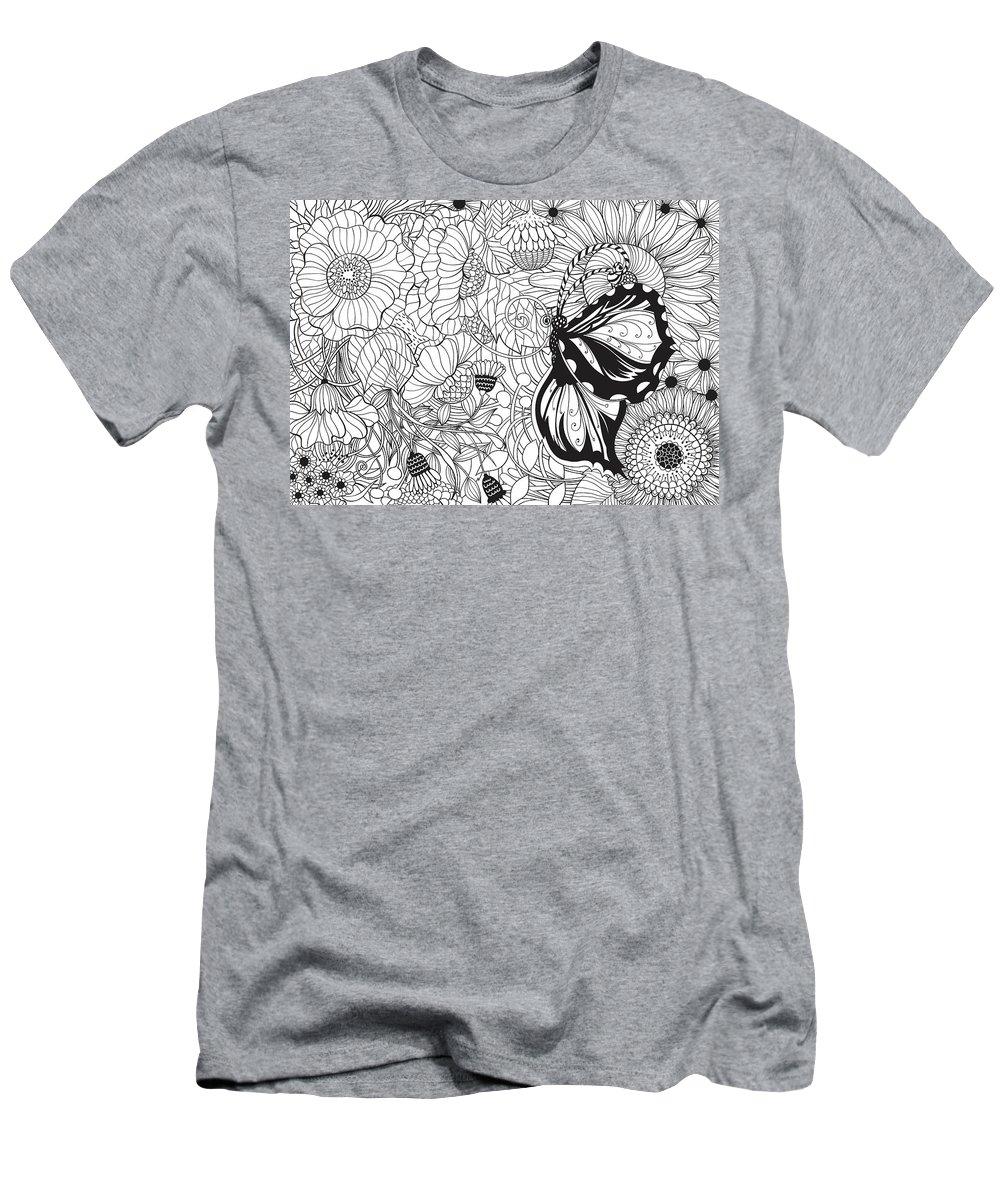 Art Men's T-Shirt (Athletic Fit) featuring the digital art Butterfly Garden by Katerina Kirilova