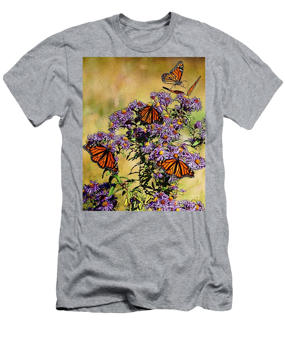 Diane Berry T-Shirt featuring the drawing Butterfly Party by Diane E Berry