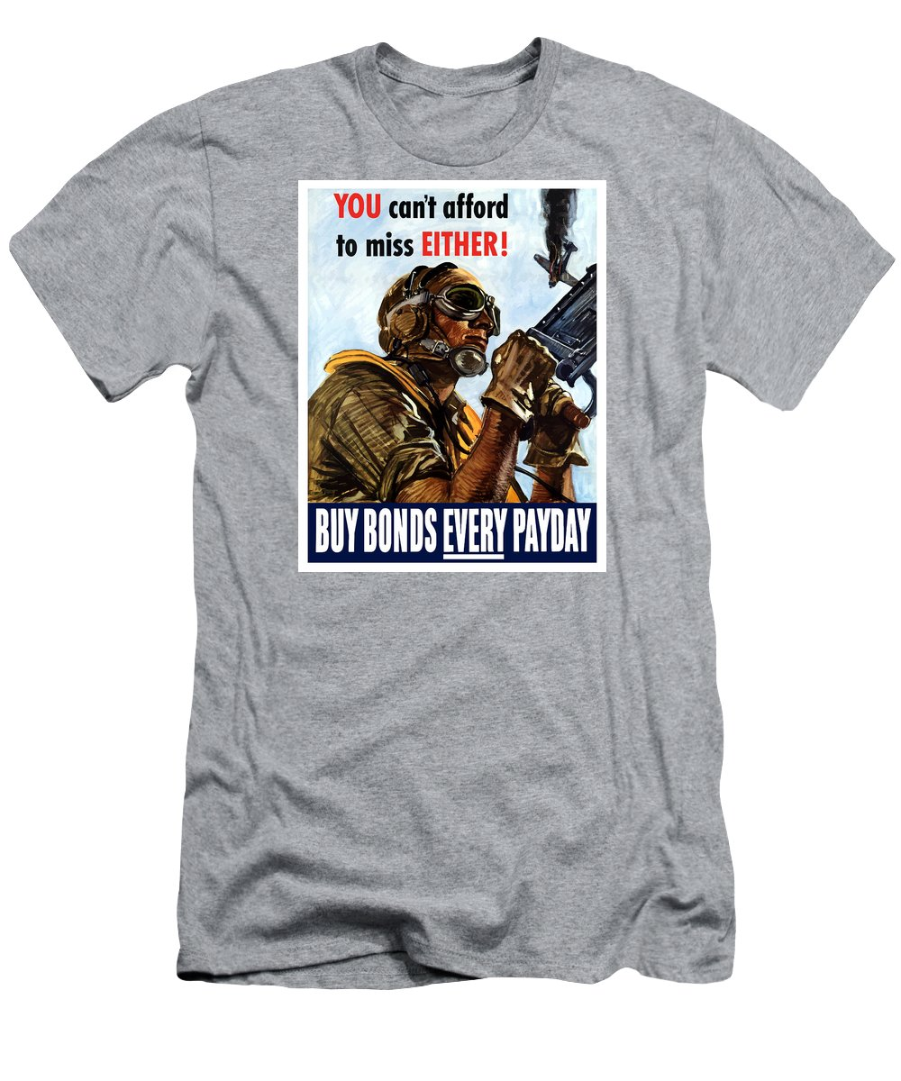 War Propaganda Men's T-Shirt (Athletic Fit) featuring the painting Buy Bonds Every Payday by War Is Hell Store
