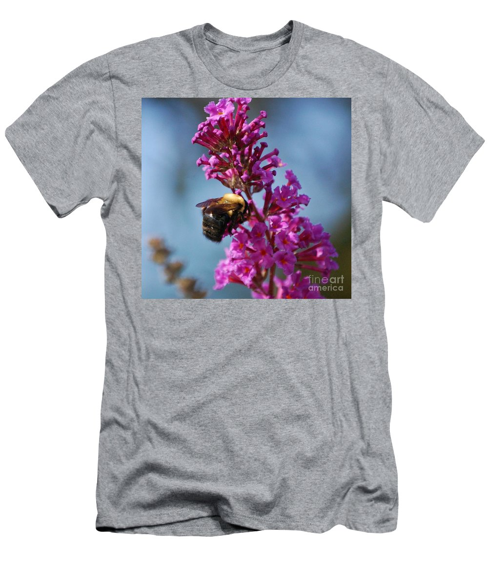 Bee Men's T-Shirt (Athletic Fit) featuring the photograph Buzzed by Debbi Granruth
