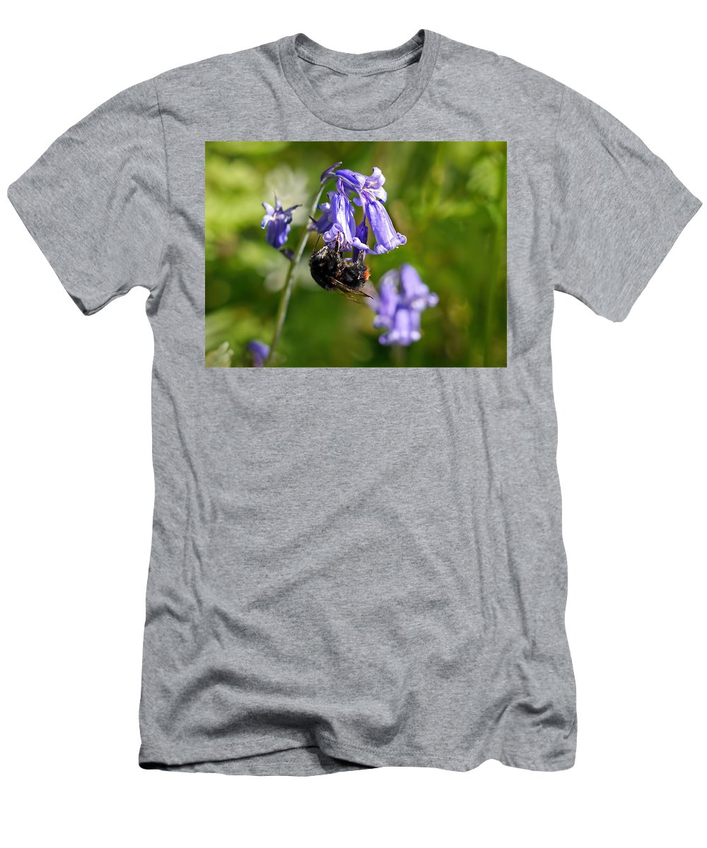 Bluebells Men's T-Shirt (Athletic Fit) featuring the photograph Buzzy Bee On Bluebells by Susie Peek