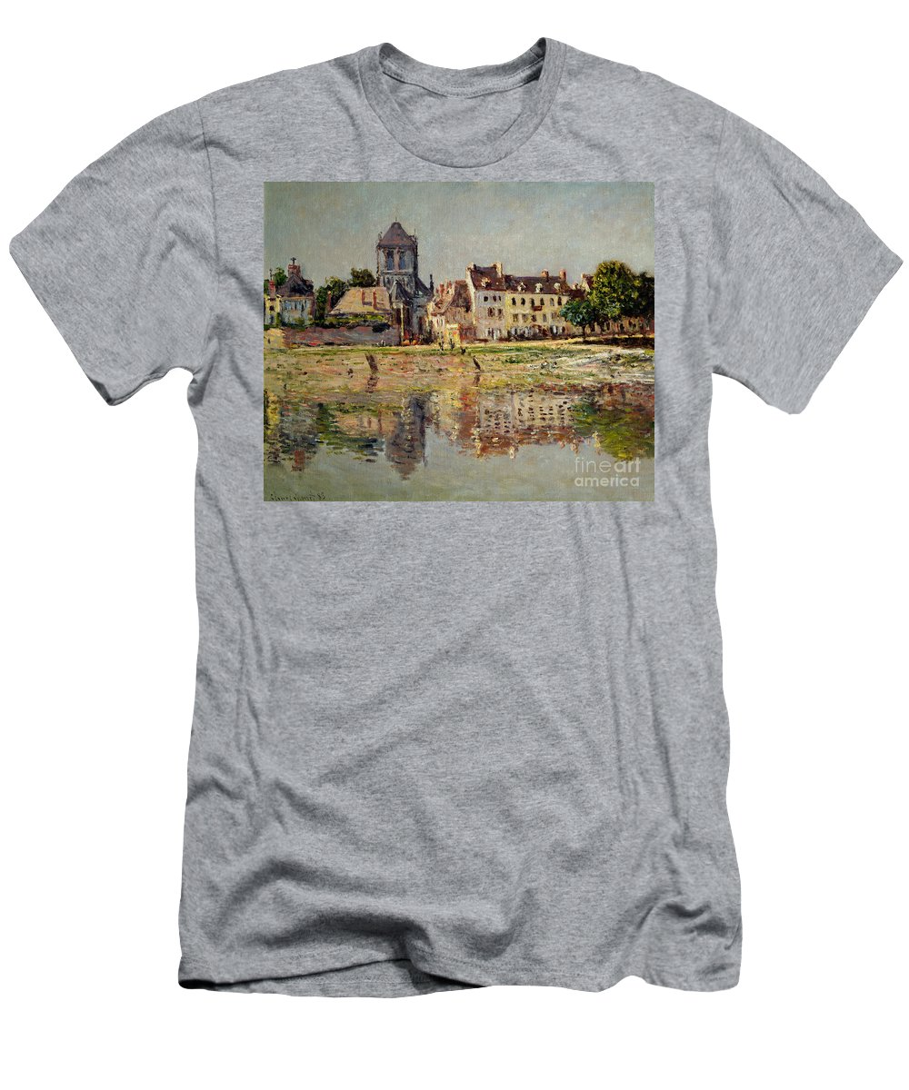 Monet Men's T-Shirt (Athletic Fit) featuring the painting By The River At Vernon by Claude Monet
