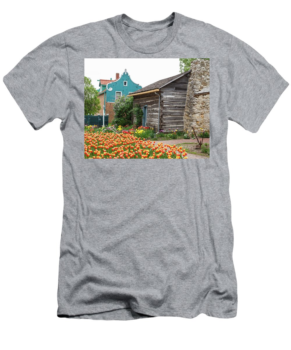 Tulips Men's T-Shirt (Athletic Fit) featuring the photograph Cabin By The Tulips by Terri Morris