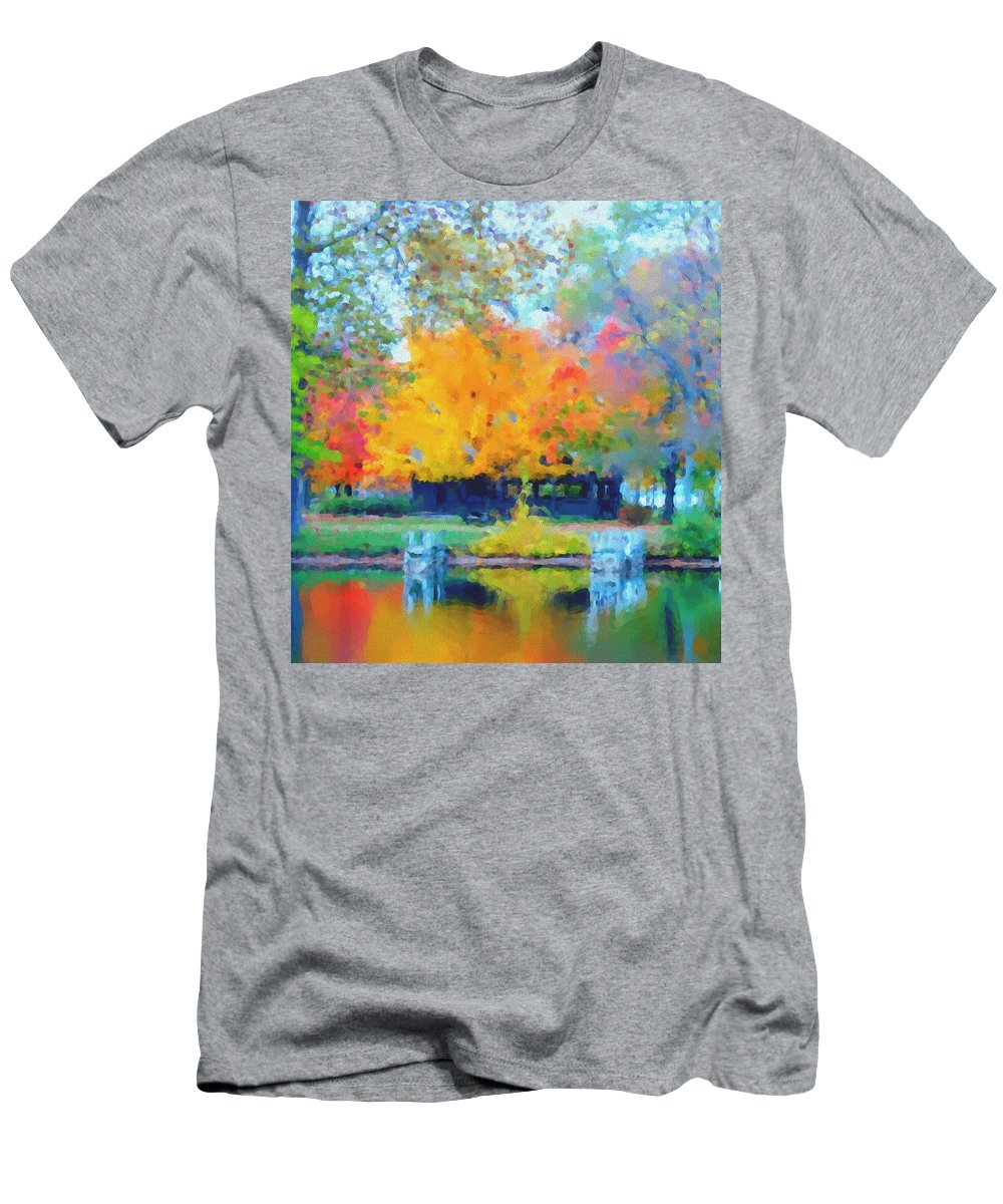 Digital Photograph Men's T-Shirt (Athletic Fit) featuring the photograph Cabin In The Park II by David Lane