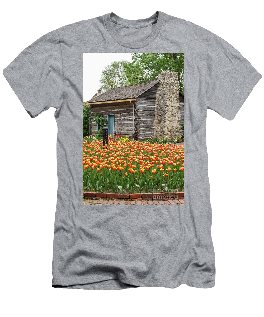 Tulips Men's T-Shirt (Athletic Fit) featuring the photograph Cabin In The Tulips by Terri Morris