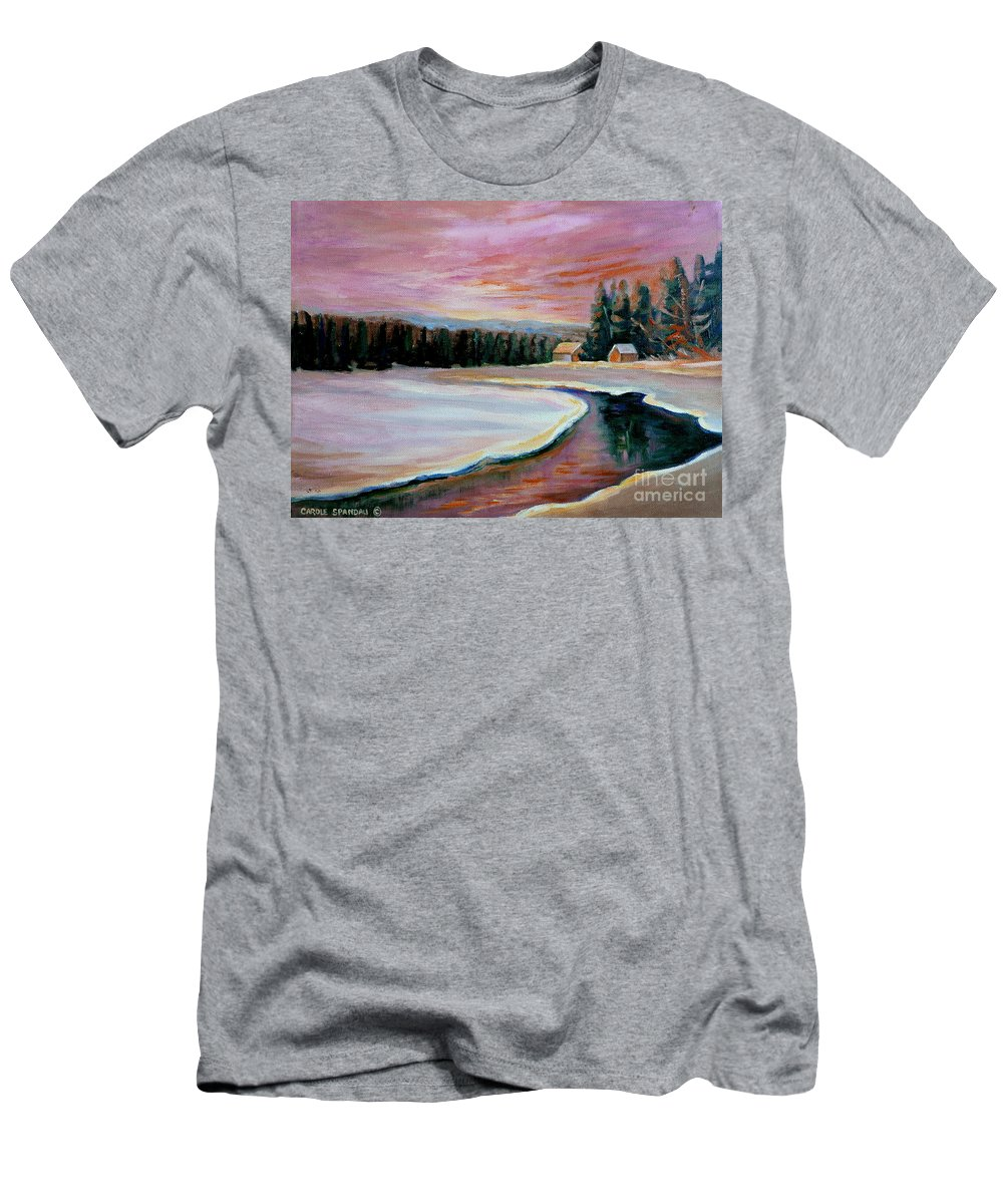 Cabin Retreat Men's T-Shirt (Athletic Fit) featuring the painting Cabin Retreat by Carole Spandau
