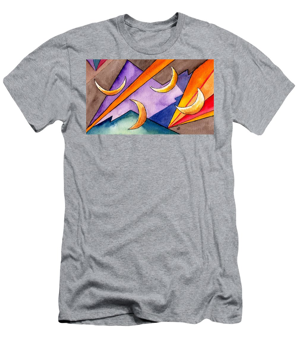 Watercolor Abstract Orange Purple Grey Moon Moons Design Fantasy Surreal Men's T-Shirt (Athletic Fit) featuring the painting Cadence by Brenda Owen