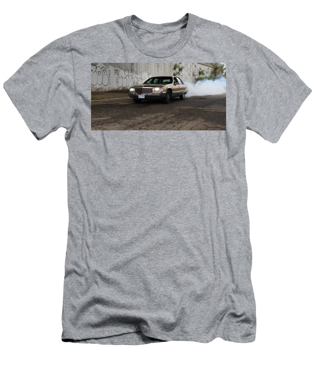 Cars Men's T-Shirt (Athletic Fit) featuring the photograph Cadillac by Anelisa Artist Photographer