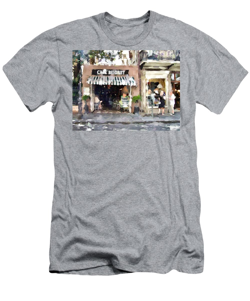 Cafe Men's T-Shirt (Athletic Fit) featuring the photograph Cafe Beignet Summer Day by Scott Crump