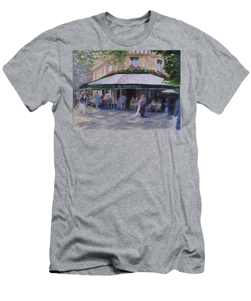 Cafe Magots Men's T-Shirt (Athletic Fit) featuring the painting Cafe Magots by Jay Johnson