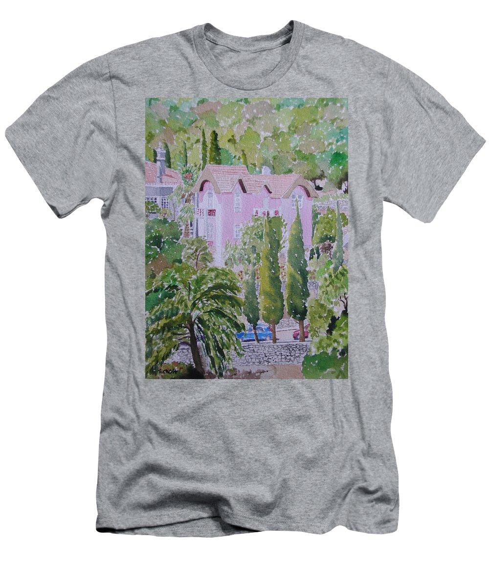 Landscape Men's T-Shirt (Athletic Fit) featuring the painting Caldas Da Monchique by Sandie Croft