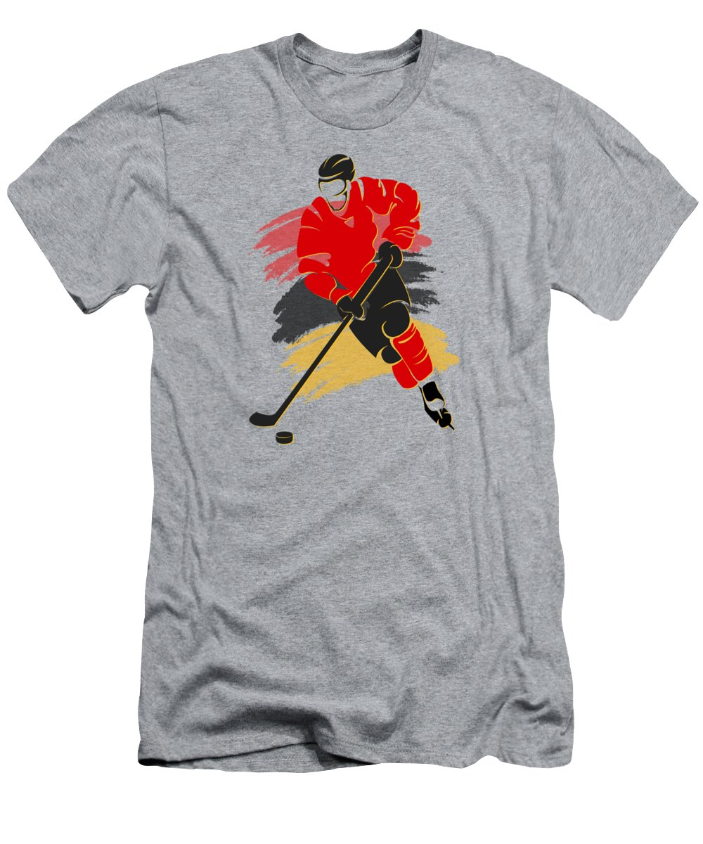 Flames T-Shirt featuring the photograph Calgary Flames Player Shirt by Joe Hamilton