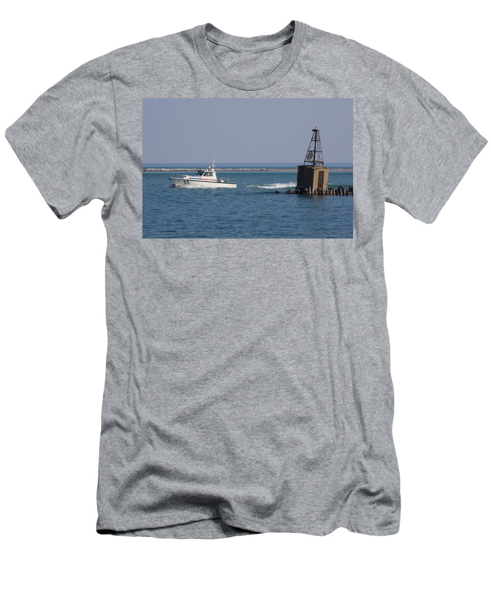 Chicago Windy City Police Lake Michigan Water Boat Fast Wave Wake Blue Sky Men's T-Shirt (Athletic Fit) featuring the photograph Call Of Duty by Andrei Shliakhau