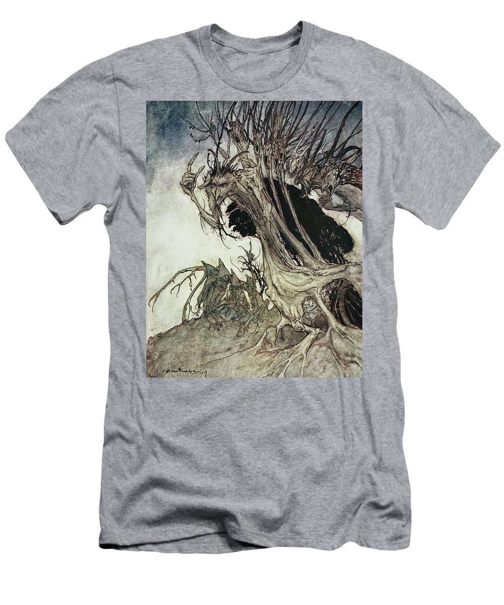 Arthur Rackham Men's T-Shirt (Athletic Fit) featuring the drawing Calling Shapes And Beckoning Shadows Dire by Arthur Rackham
