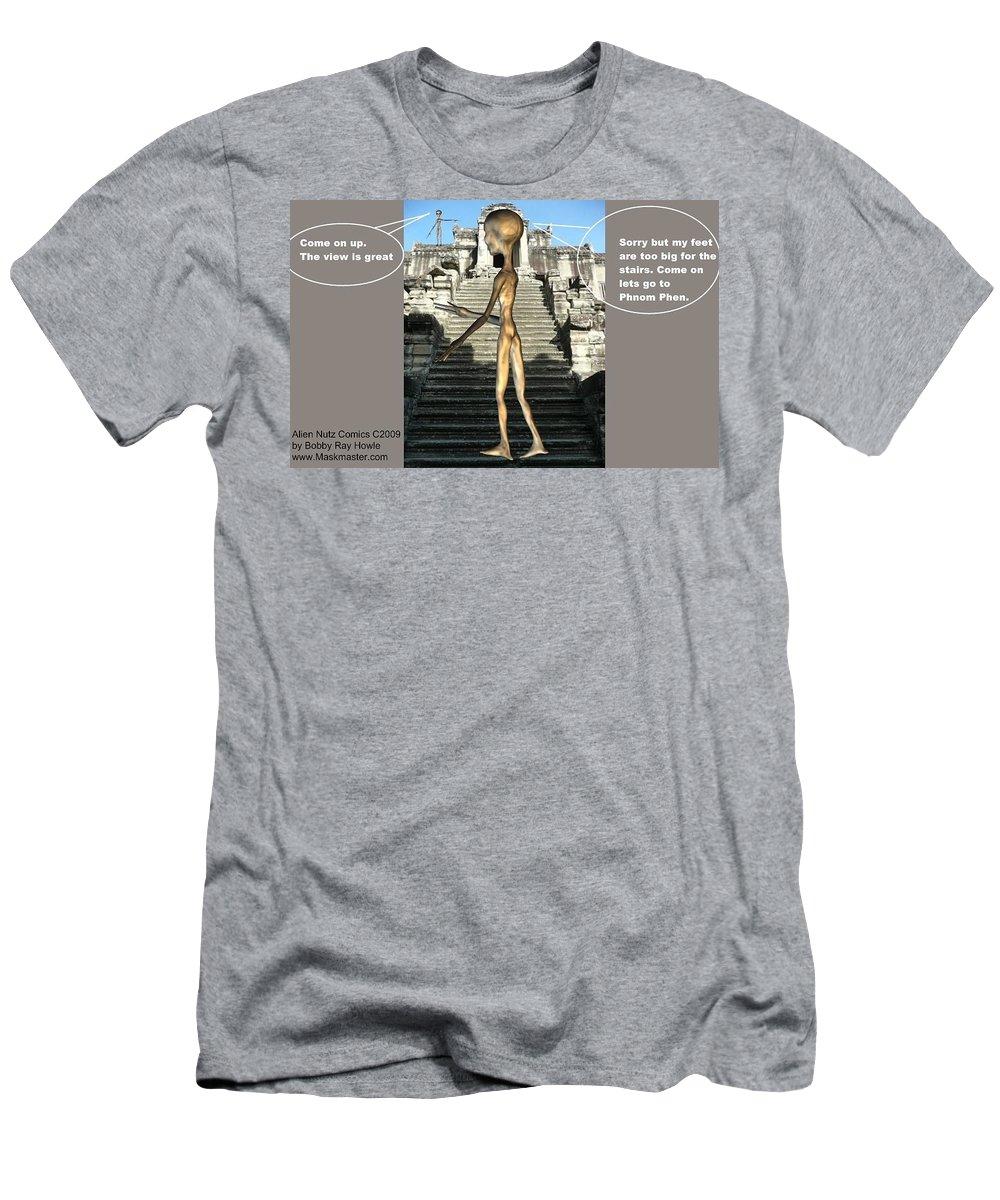 Space Art Alien Nutz Comics T-Shirt featuring the mixed media Cambodia 3 by Robert aka Bobby Ray Howle