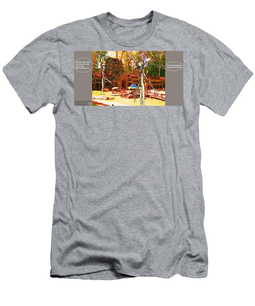 Alien Nutz Space Art Comics T-Shirt featuring the mixed media Cambodia 4 by Robert aka Bobby Ray Howle